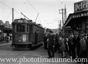 Electric tram at the corner of Glebe Road and Brunker Road (formerly Union Street), Adamstown, March 3, 1940.
