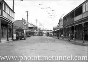 Nelson Street Wallsend, with electric tram, October 1935.