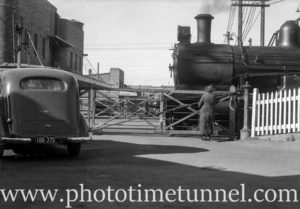 At the Beaumont Street railway gates, Hamilton, Newcastle, NSW, September 31, 1937.