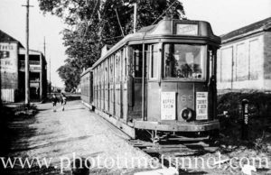 Tram at Wallsend, near the Fig Tree Hotel and old goods shed, May 4, 1948.