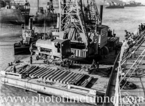 Stewarts and Lloyds Corby railway engine being delivered in Newcastle Harbour, NSW, June 28, 1951. (1)