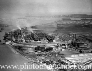 Aerial view of the BHP steelworks, Newcastle, NSW, circa 1940s.