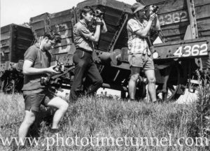 Photographers at visit of steam locomotive 3246 to Cessnock, July 18, 1971.