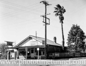 General store at Dora Creek, Lake Macquarie, NSW, 1958.