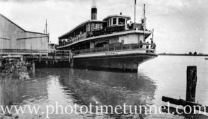 Ex-Sydney Harbour ferry Kurnell, possibly at Hexham on the Hunter River, NSW. Circa 1930s.