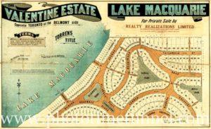 Subdivision map of Valentine Estate, Lake Macquarie, NSW.