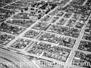 Aerial view of the Newcastle suburb of Hamilton, NSW, circa 1940s.