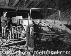 Miner working underground at Lambton Colliery, Redhead, NSW, 1961.