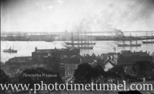 Newcastle Harbour, NSW, from the cathedral graveyard, circa 1900.