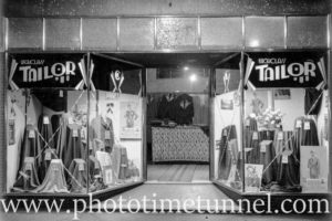 Window display and interior of a Sydney tailor shop, circa 1920.