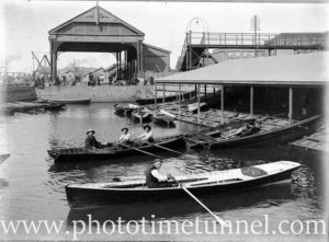 The boat harbour, Newcastle Harbour, NSW, with the market building at rear. Circa 1910.