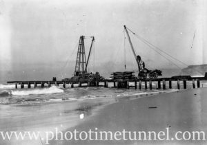 Construction of a sewerage outfall at Burwood Beach, near Newcastle, NSW. Circa 1934. (1)