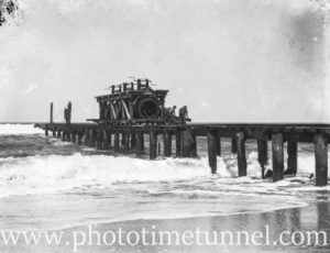 Construction of a sewerage outfall at Burwood Beach, near Newcastle, NSW. Circa 1934. (3)