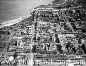 Aerial view of city of Newcastle, NSW, circa 1940s.