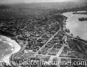 Aerial view of city of Newcastle and Newcastle Harbour, NSW, circa 1940s.