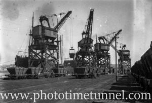 Coal cranes at Newcastle Harbour, circa 1930s.