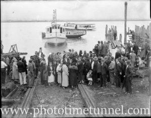 Launch of Newcastle Harbour ferry Darra at Stockton, circa 1934.