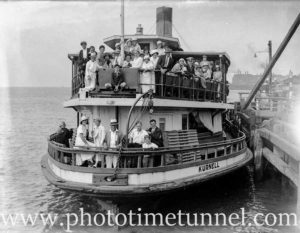 Ex-Sydney Harbour ferry Kurnell, in Newcastle Harbour, NSW. Circa 1934.
