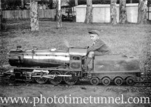 Miniature steam locomotive #418 at Manly, circa 1930. (2)