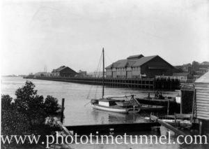 View of Newcastle Harbour, NSW, looking east past Lee Wharf. Circa 1910.