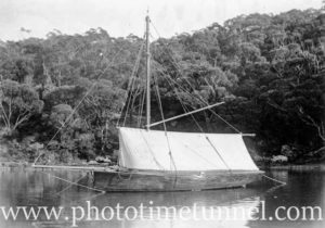 Wooden sailing boat anchored in a river, possibly Hawkesbury district NSW. Circa 1920s.