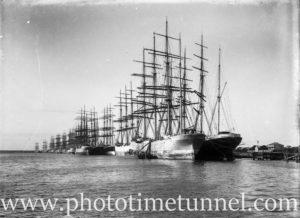 Fleet of sailing ships tied up at Newcastle, NSW, circa 1910.