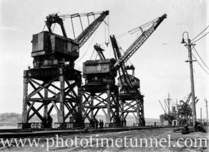 Electric coal cranes at Newcastle Harbour, circa 1930s.