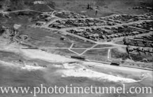 Aerial view of Merewether Beach, Newcastle, NSW, showing the rail tunnel.