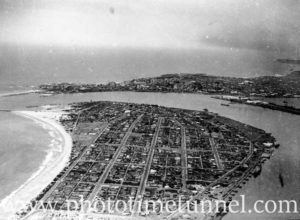 Aerial view of Stockton, Newcastle, NSW. Circa 1940s.
