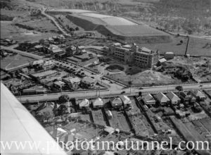 Aerial view of the Mater Hospital, Newcastle, NSW, with Waratah reservoir behind. Circa 1940s.