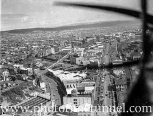 Aerial view of a parade down Hunter Street Newcastle, NSW, circa 1940s.