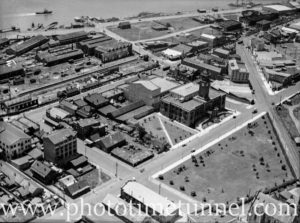 Aerial view of the Civic area of Newcastle, NSW, circa 1930s.