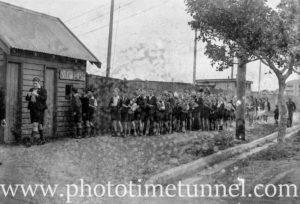 Schoolchildren queue to view Japanese mini-submarine at Newcastle, NSW, October 5, 1942.