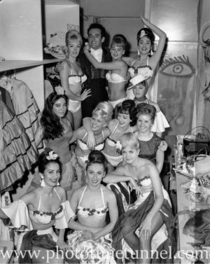 Dancers backstage at Chequers nightclub, Sydney, circa 1963.