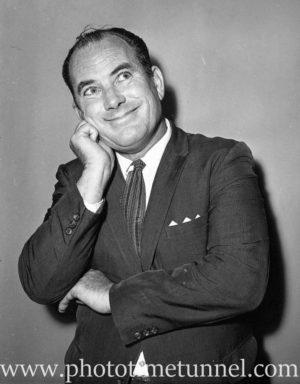 Australian comedian Terry Scanlon at Chequers nightclub, Sydney, circa 1963.