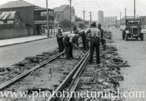 Removing tramlines from Young Street, Carrington, NSW, November 14, 1940.