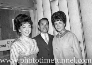 The Barry Sisters with Chequers nightclub owner Denis Wong, Sydney, August 10, 1965. (2)