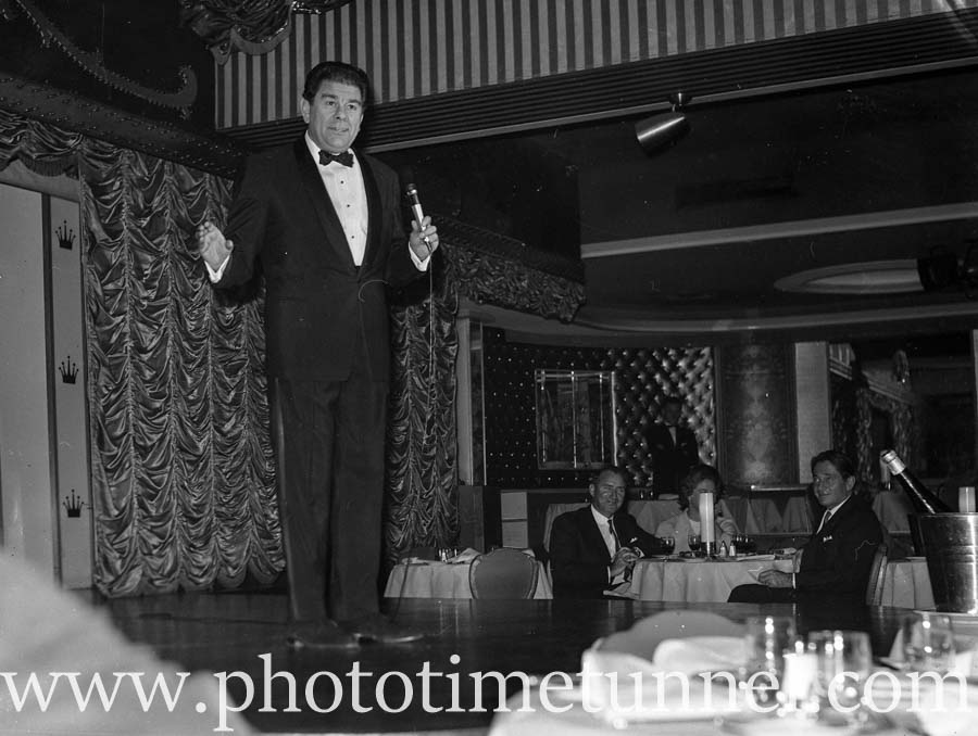 Comedian Bob Andrews at Chequers nightclub, Sydney, August 9, 1965. (3)