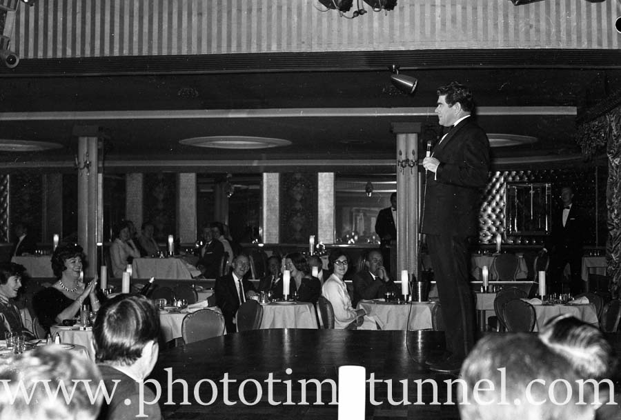Comedian Bob Andrews at Chequers nightclub, Sydney, August 9, 1965. (4)