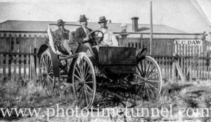 Men on a battered old car, Broken Hill, NSW, circa 1910.