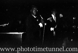 American jazz musician Earl Grant performing at Chequers nightclub, Sydney, January 27, 1965.