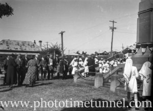 Service being conducted at East Maitland war memorial, NSW, circa 1930s. (5)