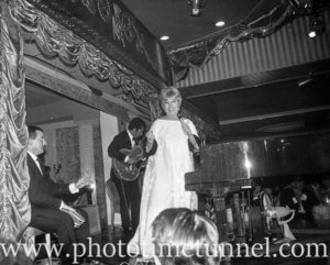 American cabaret singer Frances Faye at Chequers nightclub, Sydney, April 10, 1965. (5)