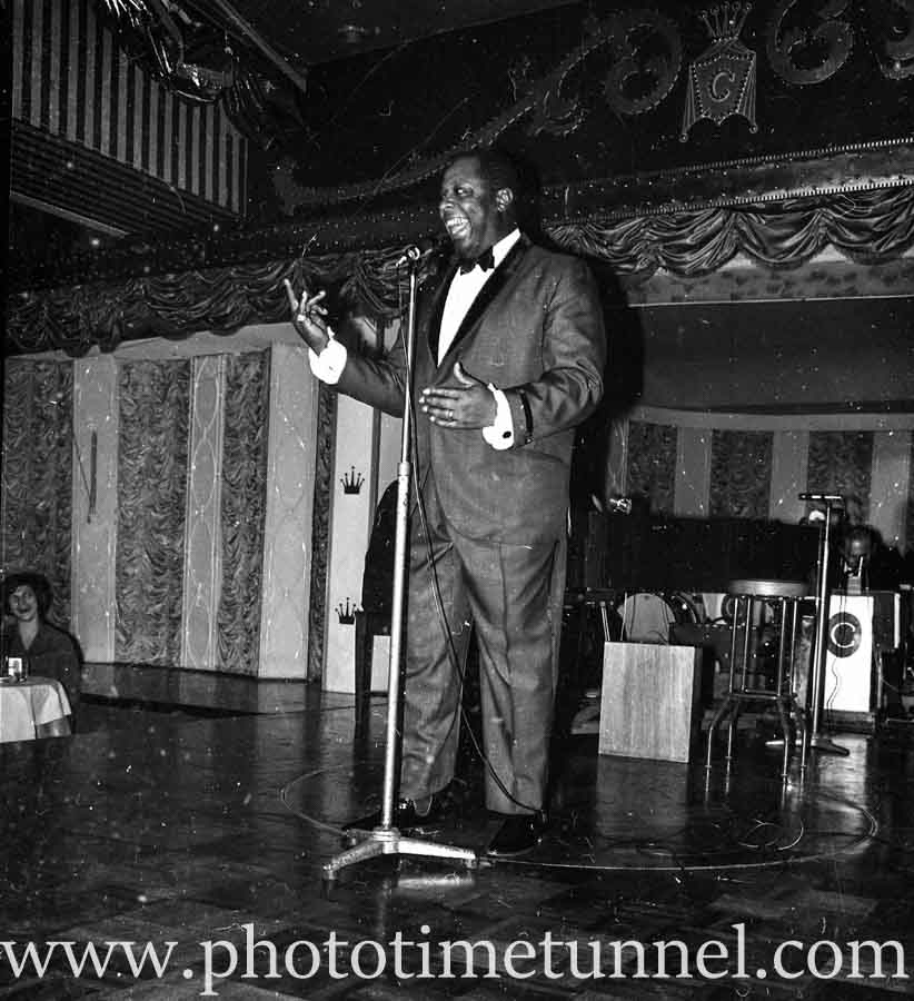 American singer and comedian George Kirby at Chequers nightclub, Sydney, April 1965.