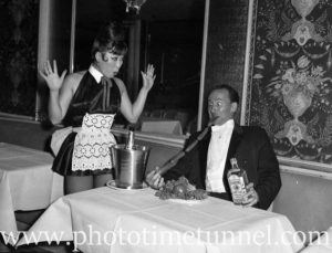 Australian magician Ken Littlewood and his Japanese wife and assistant Toshi at Chequers nightclub, Sydney, on August 21, 1963. (2)