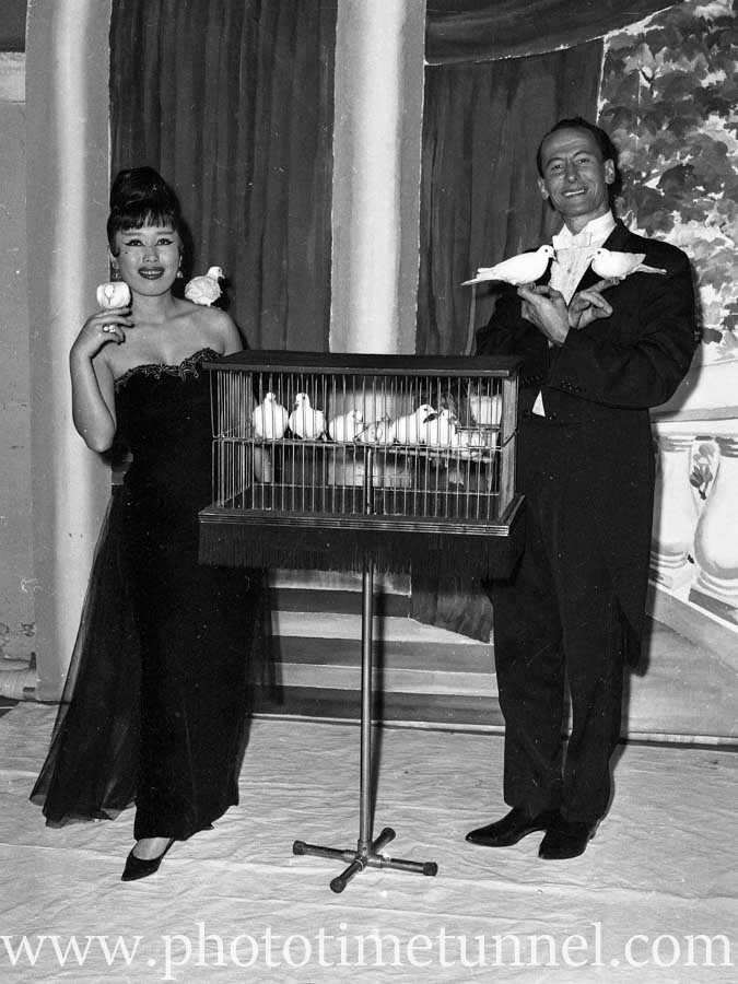 Australian magician Ken Littlewood and his Japanese wife and assistant Toshi at Chequers nightclub, Sydney, on August 21, 1963. (4)