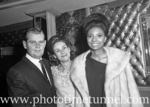 Leslie Uggams, at right, at Chequers nightclub, Sydney, June 16, 1965.