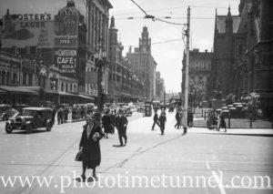 Street scene in Melbourne, Victoria, 1936.