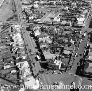 Aerial view of The Junction, Newcastle, NSW, after a RAAF Sabre jet fighter crash on August 17, 1966. (10)
