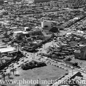 Aerial view of The Junction, Newcastle, NSW, after a RAAF Sabre jet fighter crash on August 17, 1966. (12)